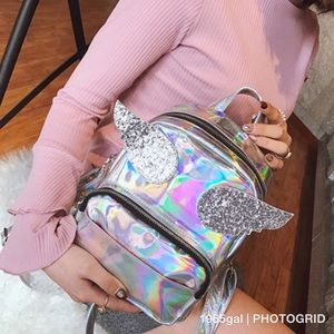 Handbags - Silver Glitter Holographic Angel Wings Back pack
